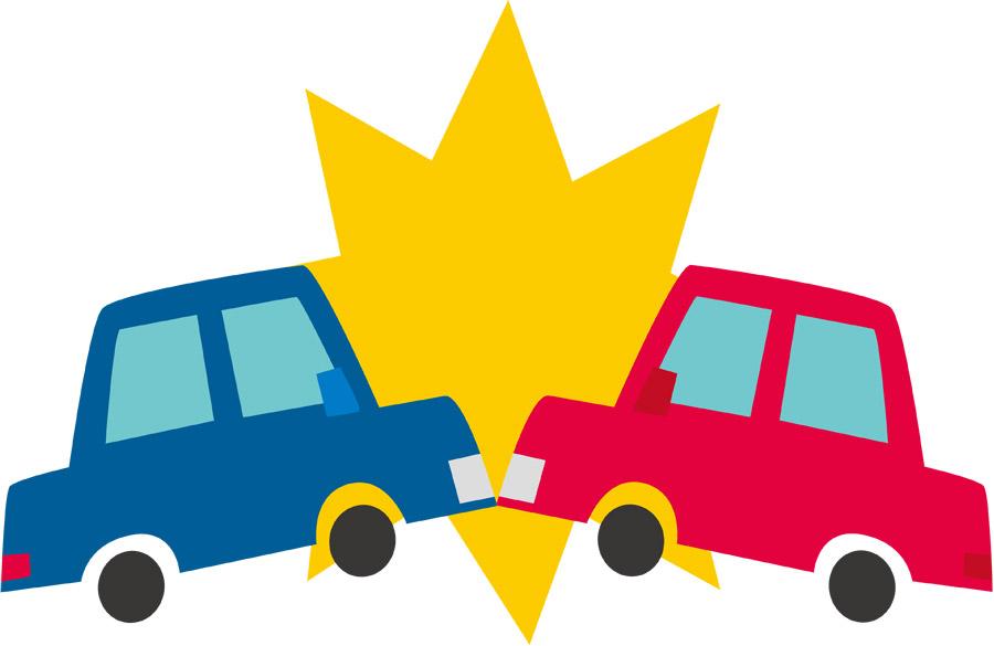 正面衝突する交通事故