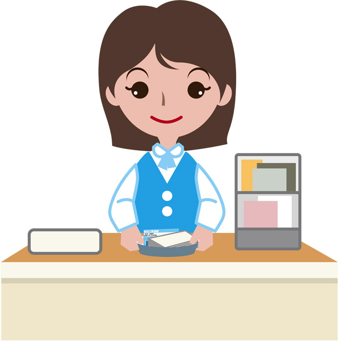 窓口で働く女性銀行員