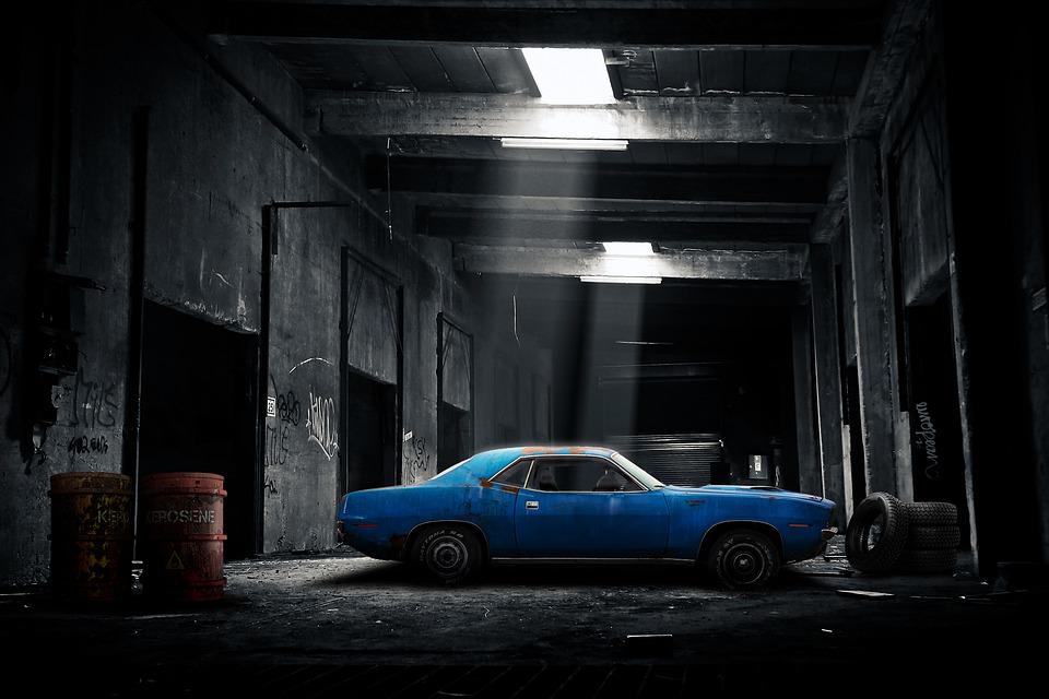 車 ガレージ 古い 暗い 自動車 車両 自動 サービス 修理 交通 トランスポート