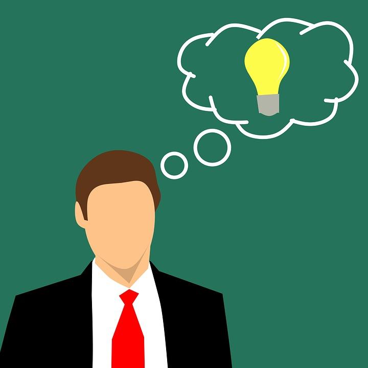 ビジネス 男 人 インスピレーション 電球 概念の 分離 創造性 画像