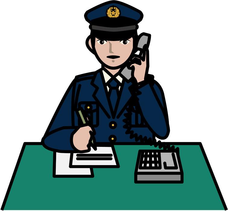 交番で電話応対中の警察