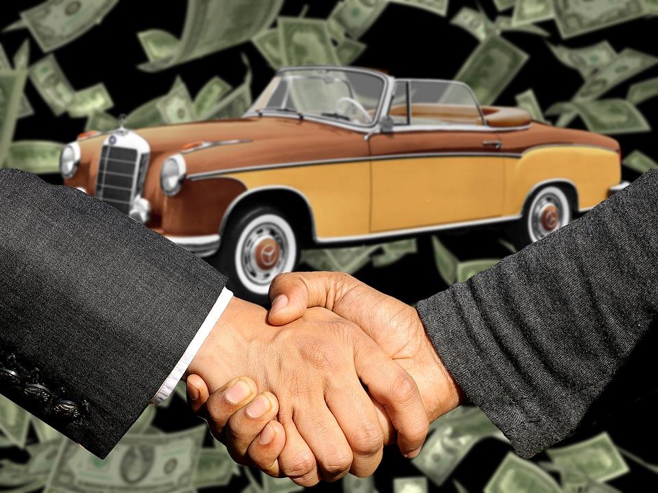 Autohandel Autokaufmann 自動車販売 契約の締結 ハンドシェイク 貿易