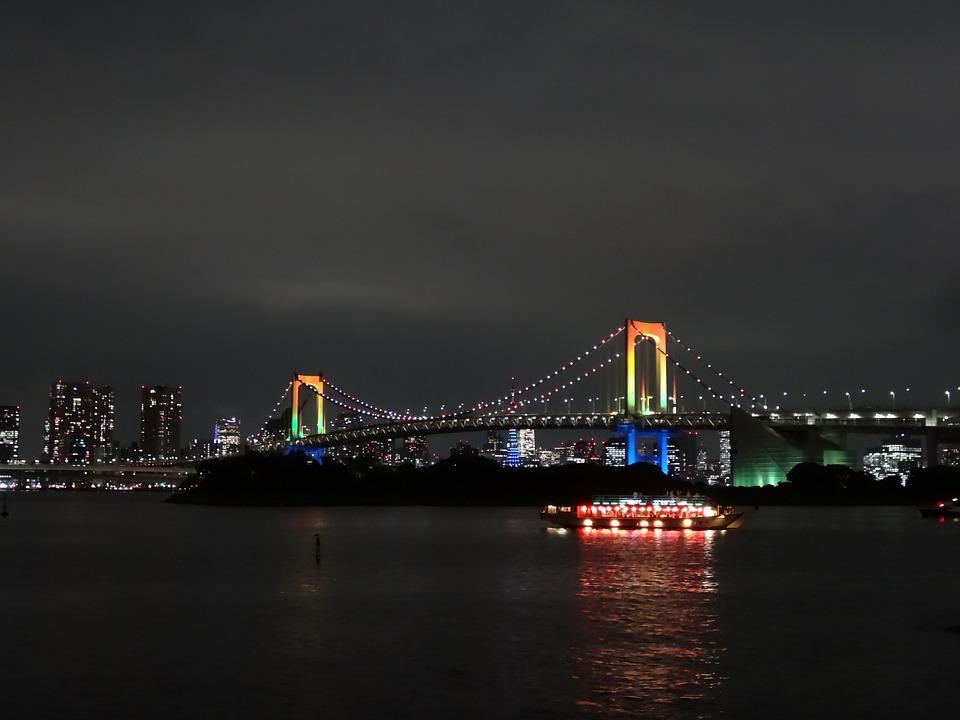 橋 日本 海岸 お台場 レインボー 吊り橋 東京 海 虹 空 タワー ビル 建物