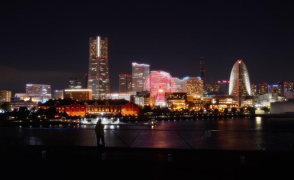 ドライブデート 関東 横浜 夜景 夜 日本 建物 みなとみらい ランドマークタワー 風景 港 神奈川県