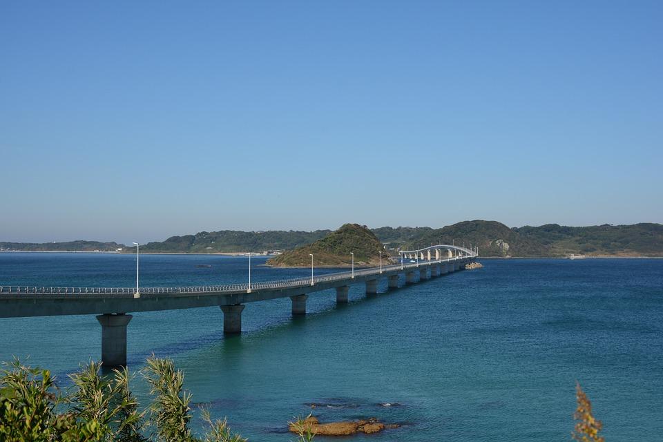 日本 山口 角島 海 橋 空 海岸 青 景色