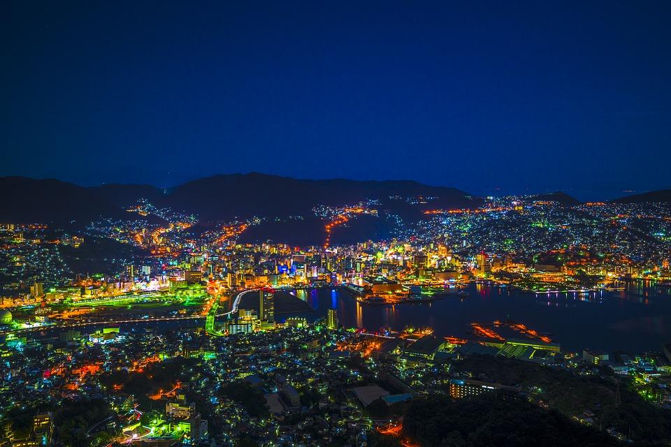 夜景 長崎 日本 九州 街並 明かり 世界三大夜景 長崎湾