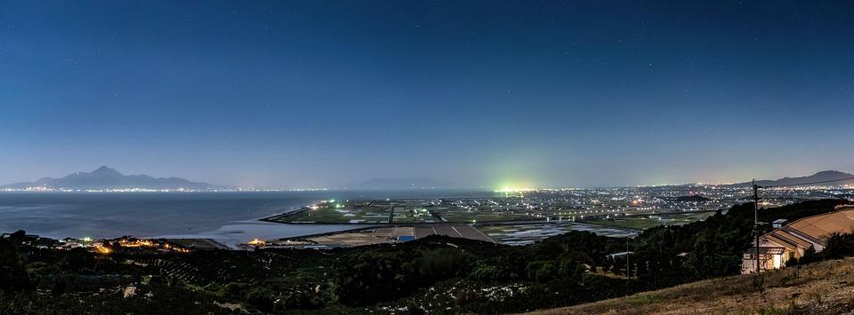 日本 熊本 河内町 夜景 海 星 空 干拓 普賢岳